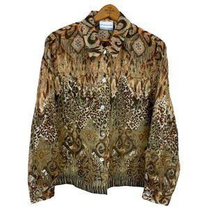 Alfred Dunner Blouse Mixed Animal Print Button Up